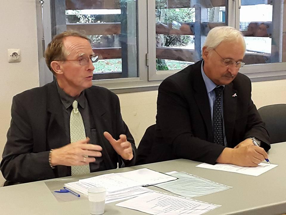 Jean Paul Griggio, 1er premier Président de la LEGE avec à sa droite Jean-Paul Omeyer, Président de la commission Sport à la Region Grand Est (Photo C. Philippe).